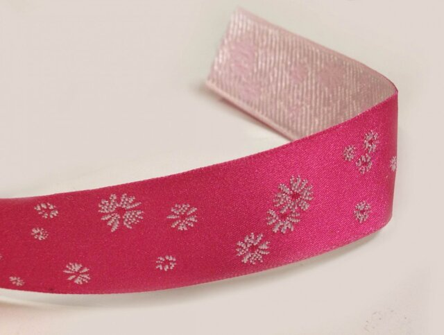 KikiLピンク雪リボン(幅25mm)の画像1枚目