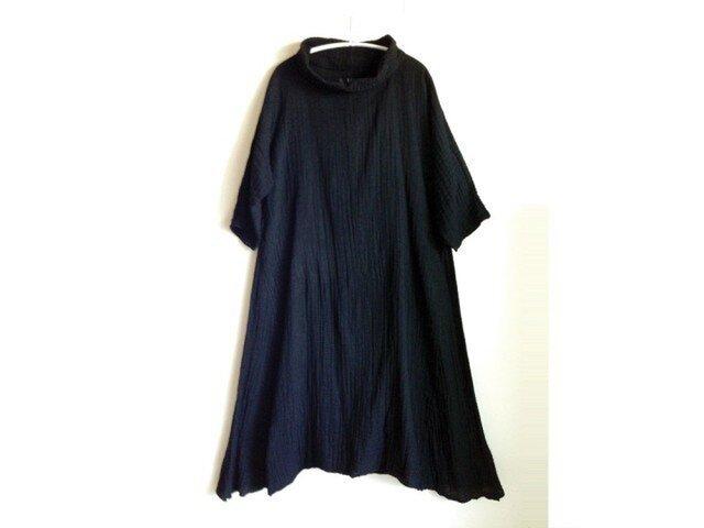 ●筒エリ・Aラインワンピース/黒/メディカルガーゼ服【エコ染料】※受注製作の画像1枚目