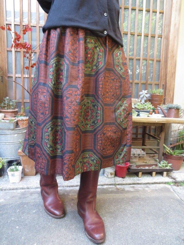 着物リメイク☆凝った織りの紬でふんわりキュート73㎝丈の画像1枚目
