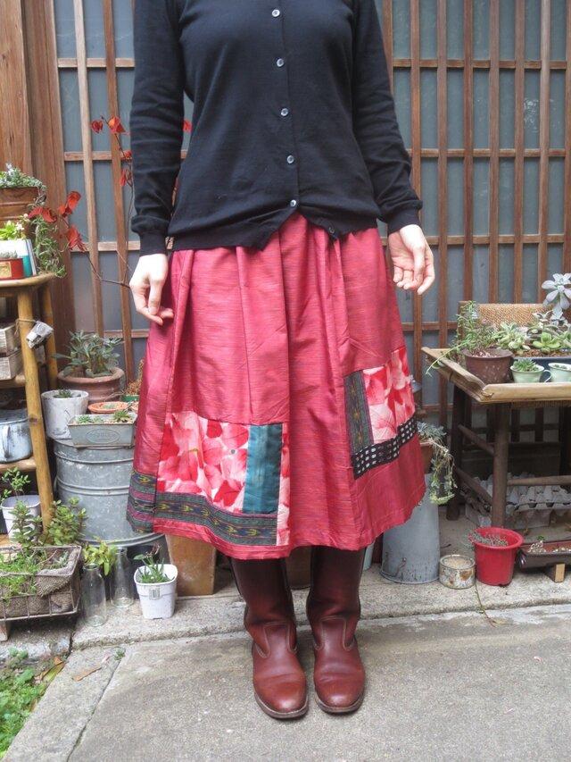 着物リメイク☆凝った織りの華やかピンクキュートな73㎝丈の画像1枚目
