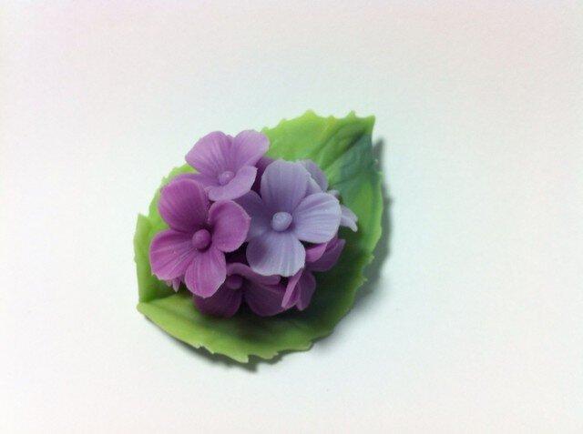 紫陽花のブローチの画像1枚目