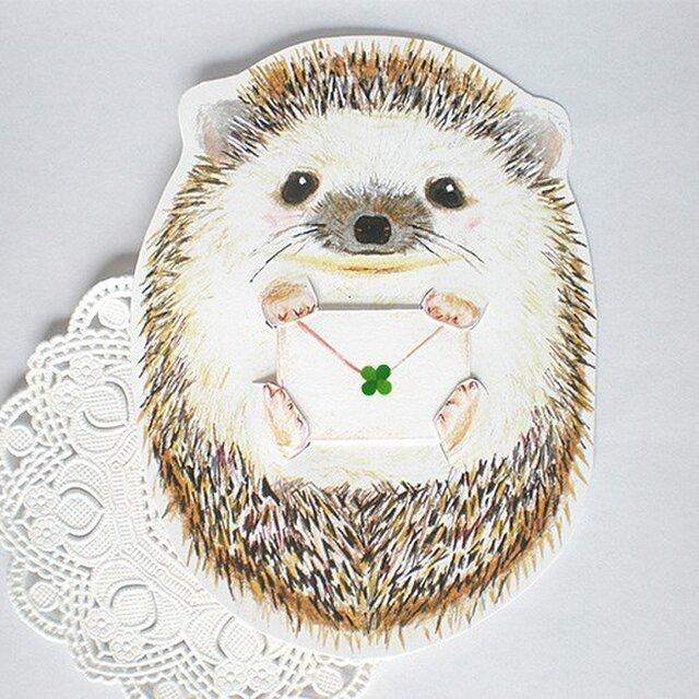 ハリネズミのお手紙カードの画像1枚目