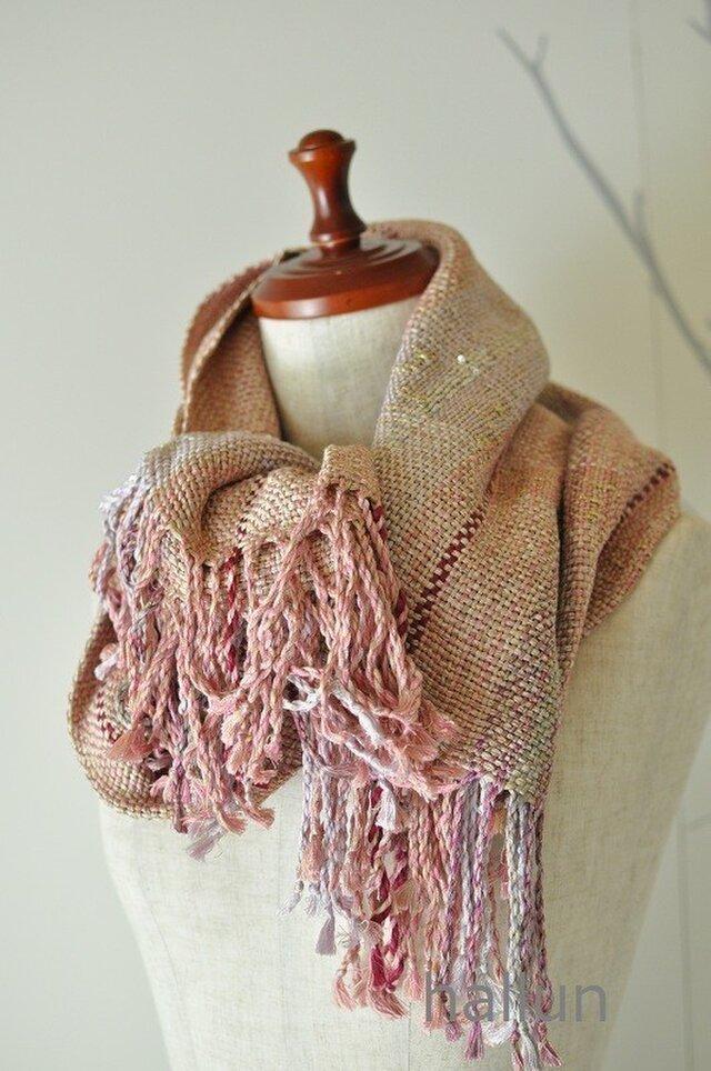 H様お取り置き作品 手織り「パールピンクの大判ショール」 (絹100%)の画像1枚目