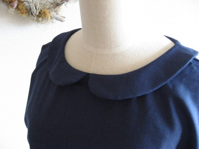 ウール混 丸衿ワンピースの画像1枚目