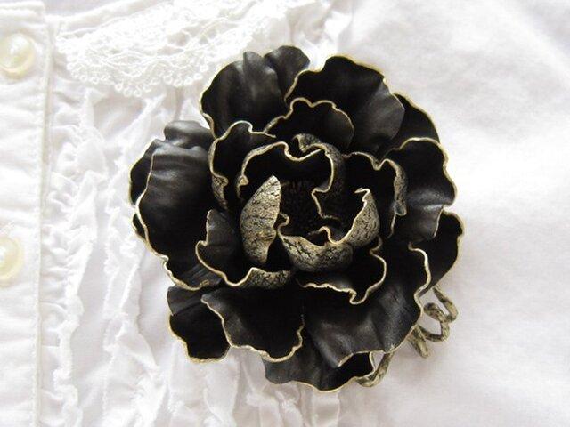 革のコサージュ オールドローズ(ブラック)の画像1枚目