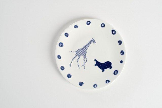 Giraffe Hippo Plate -キリンとカバのお皿-の画像1枚目