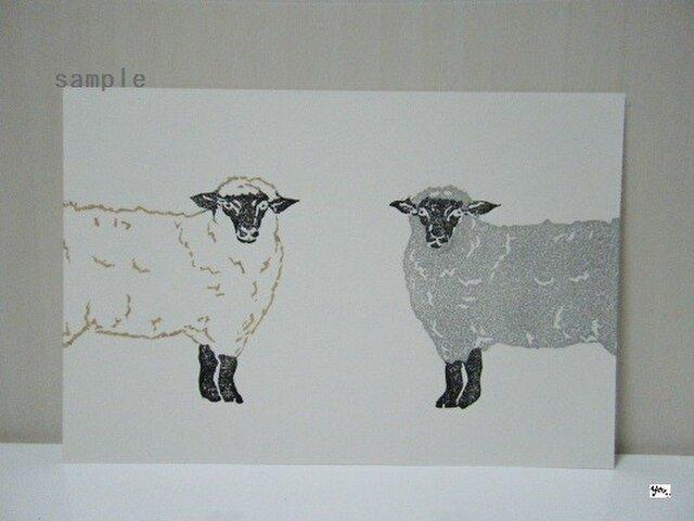 葉書〈羊2匹(ヨコ)-1〉の画像1枚目