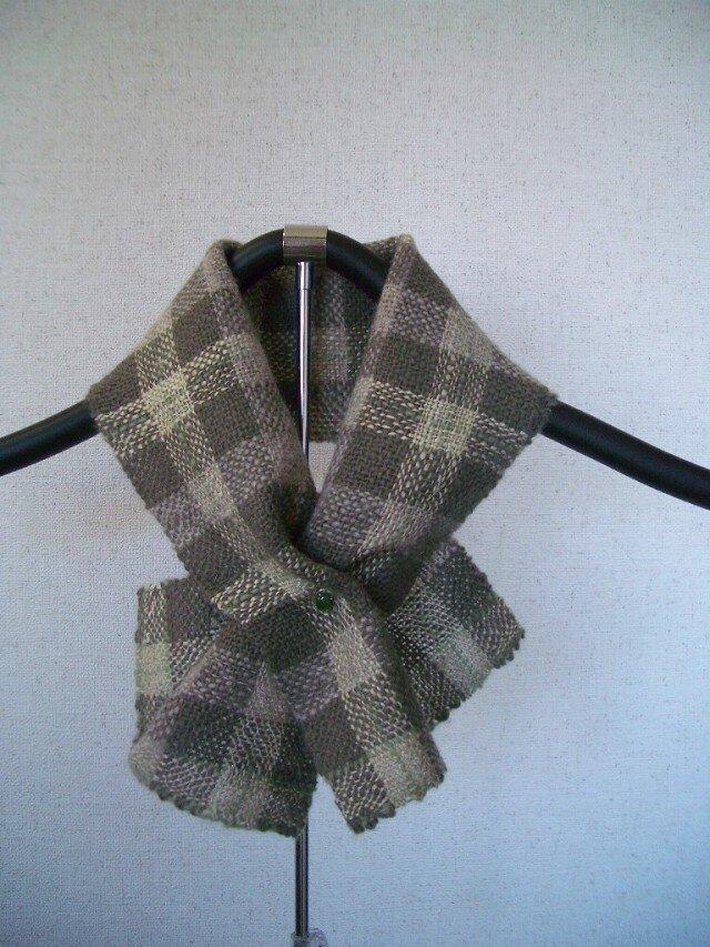 草絵木織り® ミニマフラー・チェックAの画像1枚目