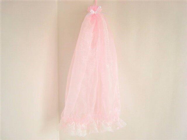 リボンとレースの付いたかわいいピンクのフェイスカバーの画像1枚目
