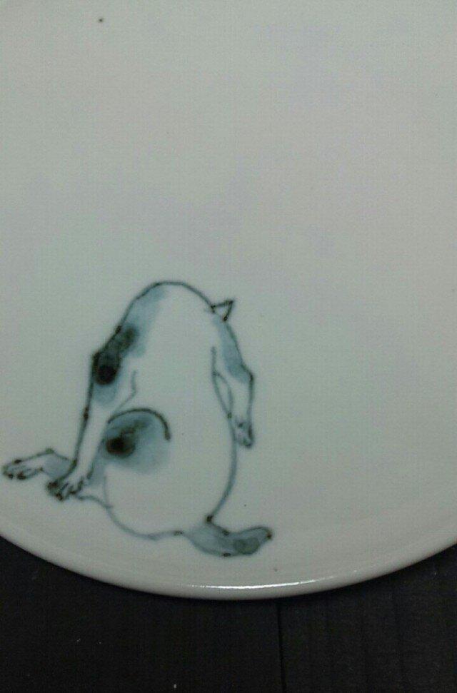 染付5寸猫皿 25の画像1枚目