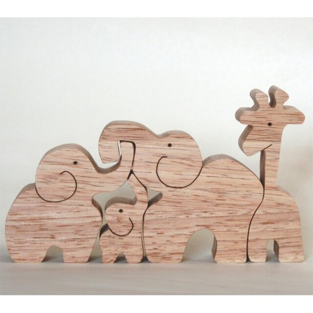 キリンと象(組み木)の画像1枚目