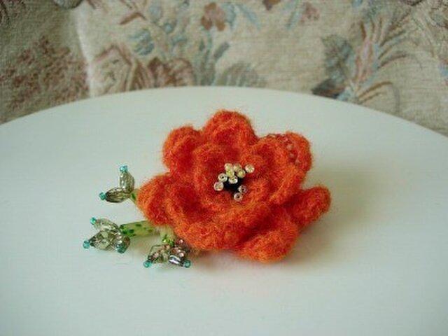 薔薇ブローチ(オレンジ)の画像1枚目