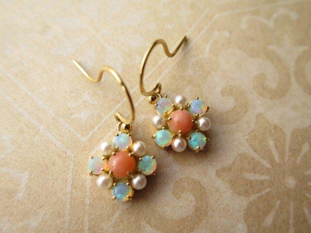 K18   Opal Coral Pearl  ピアスの画像1枚目