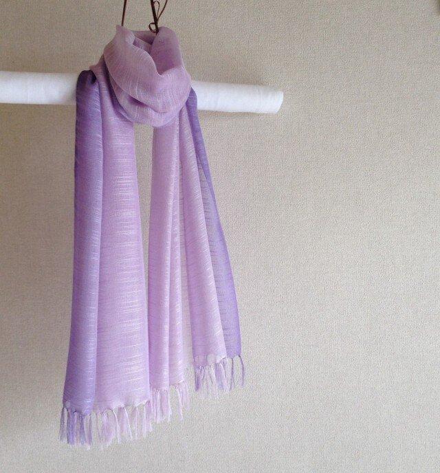 手染めシルクストール オーキッド×紫の画像1枚目