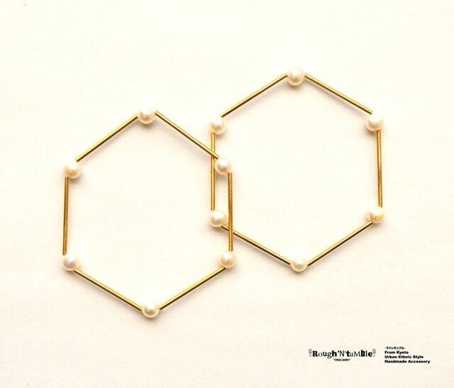 Hexagon bracelet pearl(1本売り)の画像1枚目
