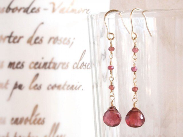 14KGF Garnet Earringsの画像1枚目