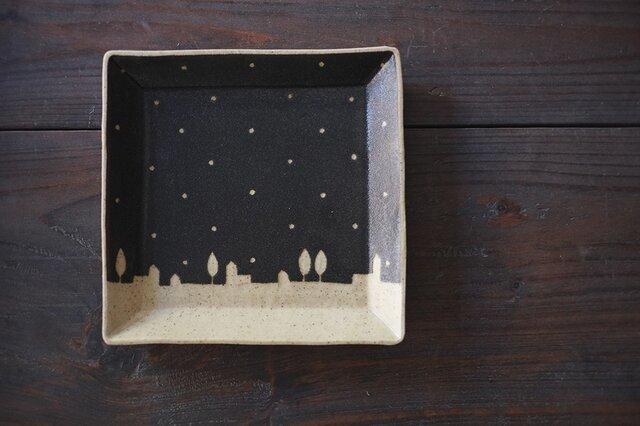 ドットと街の四角皿(黒)の画像1枚目