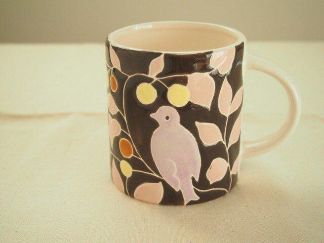 マグカップ(鳥 焦げ茶色)の画像1枚目