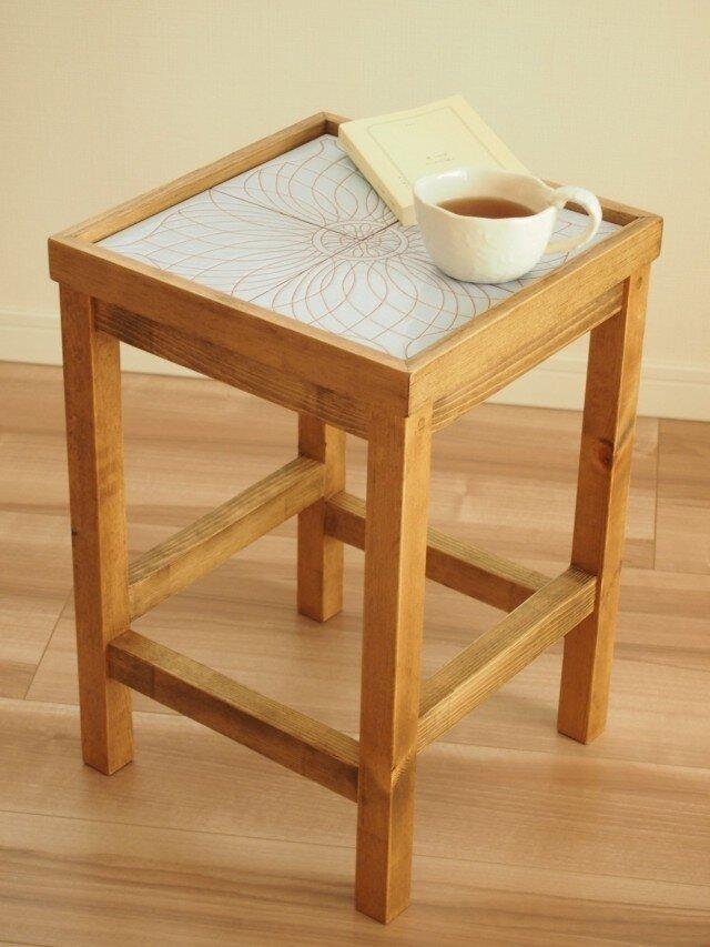 タイルサイドテーブル(水色)【受注生産品】の画像1枚目