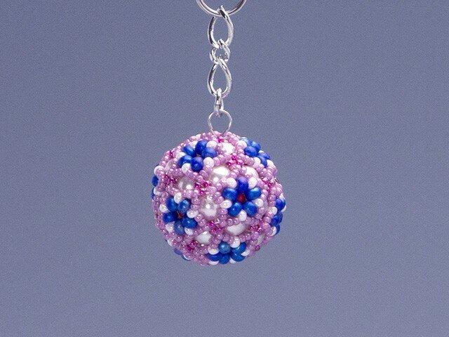 星型の花模様のボールの携帯ストラップ・ピンク&ブルーの画像1枚目