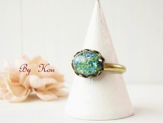 ◆Green opal◆シンプルヴィンテージ・リング。の画像1枚目