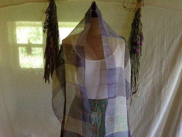 手織りリネンストール ボーダーカラーの画像1枚目