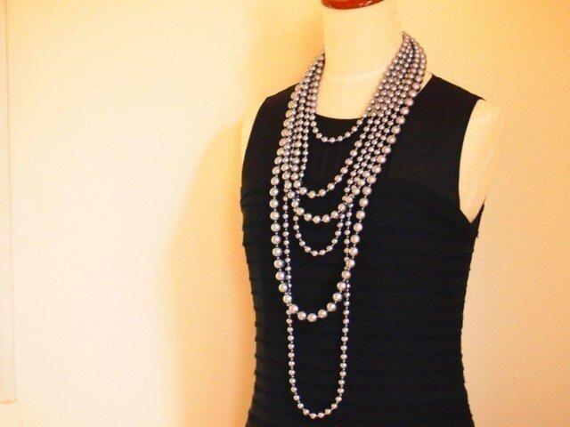 6連 cotton pearl necklaceの画像1枚目