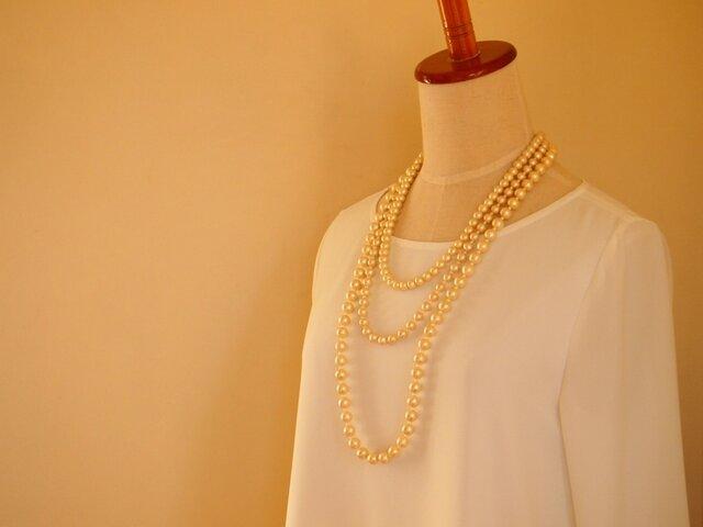 3連 cotton pearl necklace(3WAY)の画像1枚目