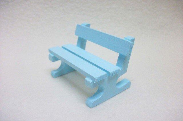 ミニチュアサイズ!木製のイス-ベンチSブルー-の画像1枚目