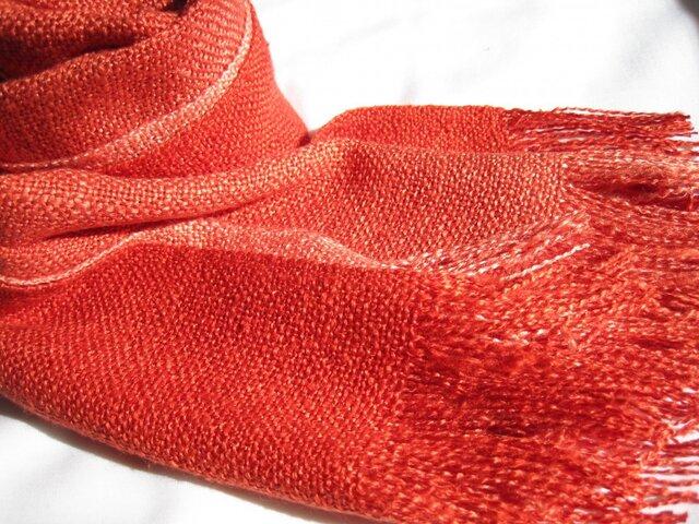 色の変化するストールシルク100%真綿紬鴇羽色の画像1枚目