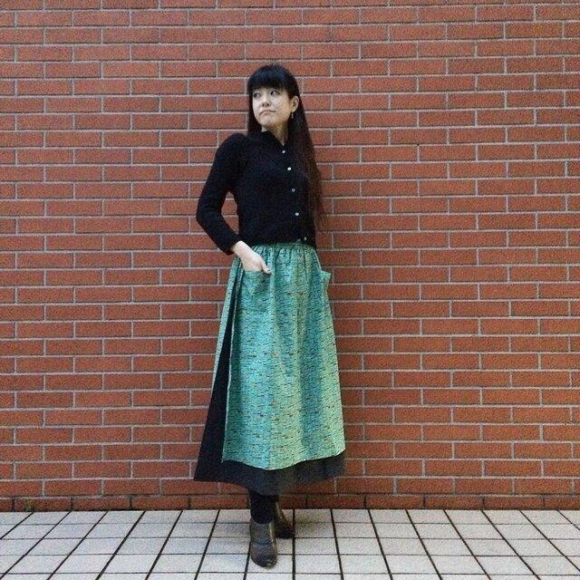 【\2000 OFF】大人のエプロンスカート(ハンバーガー:ペパーミント×チャコール)の画像1枚目