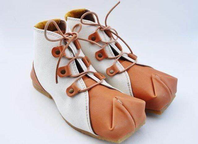 tote boots  栃木革x倉敷帆布の画像1枚目