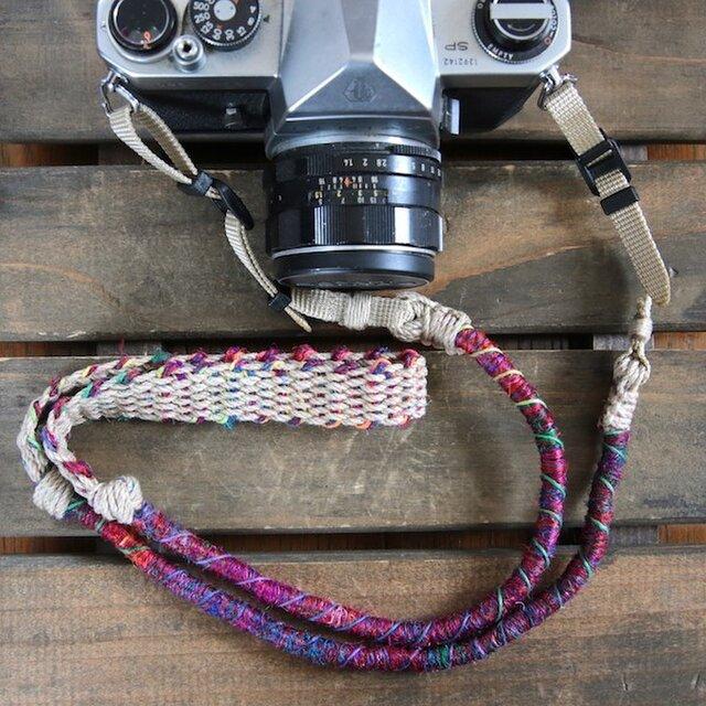 Crazy-color麻紐ヘンプカメラストラップ(ベルト)の画像1枚目