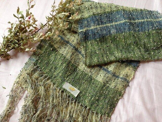 手織り リトアニアリネン糸とツイストの変わり糸の画像1枚目