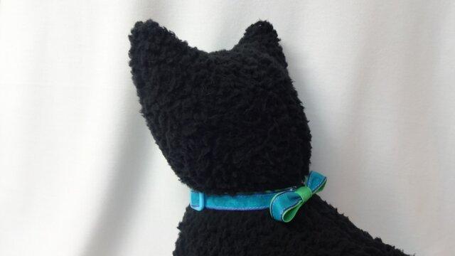 ネコ首輪 青×緑の画像1枚目