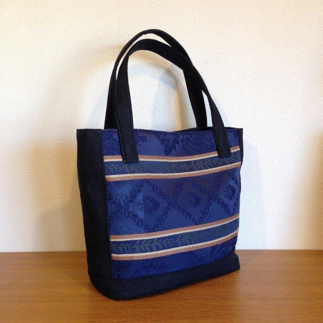 青いゴブラン織りのハンドバッグの画像1枚目