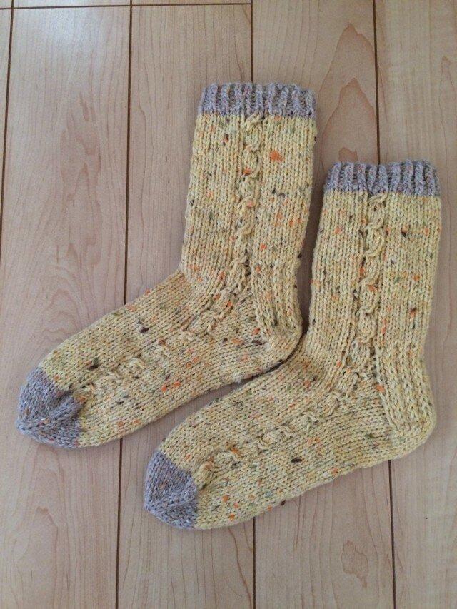 手編み靴下 wool100% 野菜染めの画像1枚目
