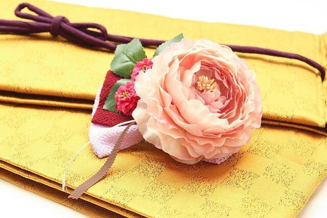 レトロアンティーク髪飾り 28(薄紫のリボンに大きな桃色牡丹)の画像1枚目