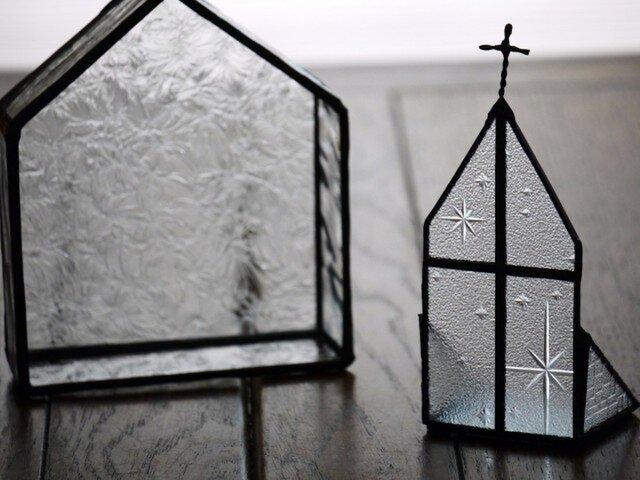 【再販】ステンドグラス キャンドルホルダー教会1の画像1枚目