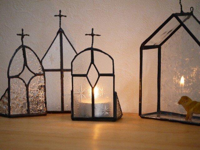 ステンドグラス キャンドルホルダー教会2の画像1枚目