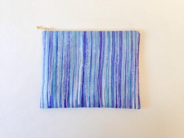 絹手染ポーチ大(17cm×21cm 水色紫)の画像1枚目