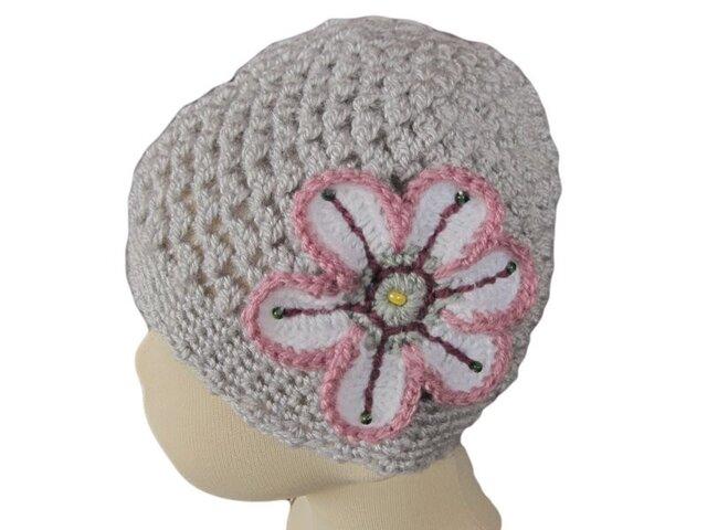 子供用:透け感がかわいいニット帽 お花付き(40cm )の画像1枚目