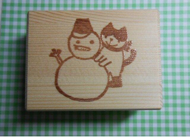 雪だるまと猫はんこ(送料込み)の画像1枚目