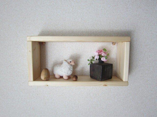 木の壁掛け棚(中1個)クリアの画像1枚目