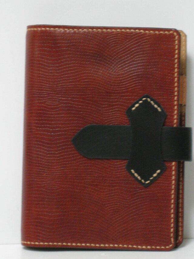 手縫 牛革リザードの型押しを使ったバイブルサイズのシステム手帳の画像1枚目