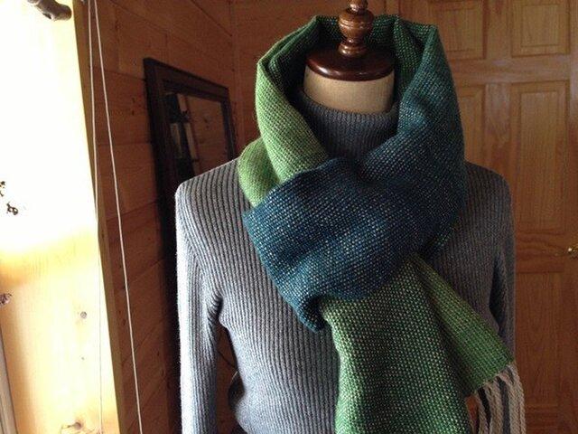 手織り リトアニアウール グリーンの画像1枚目