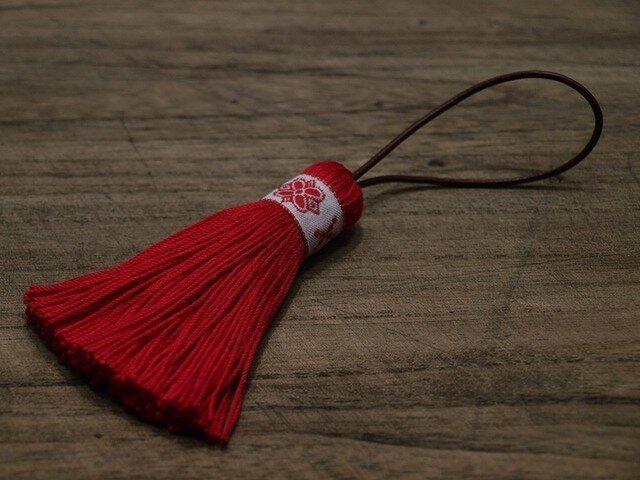 ✤北欧タッセル✤【フォークロア】北欧柄・雪柄・伝統柄 オーナメント・バッグチャーム 赤の画像1枚目