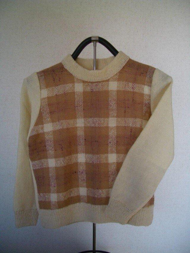 草絵木織り®  チェックセーターの画像1枚目