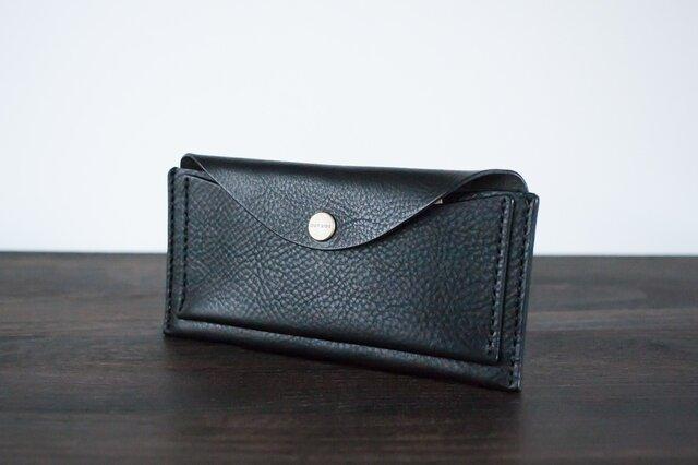 イタリア製牛革のスリムな長財布 / ブラック※受注製作の画像1枚目