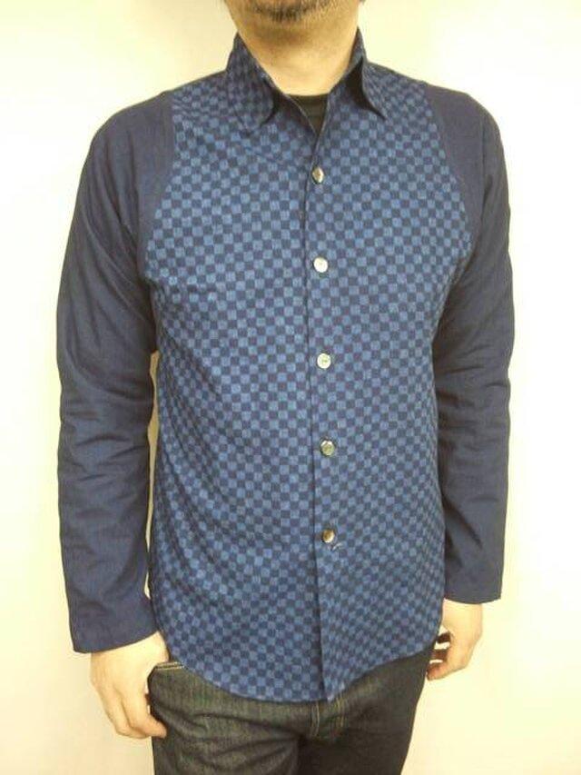 吉兆藍木綿シャツ(市松模様)袖裏使いの画像1枚目